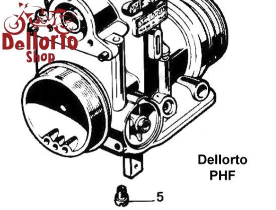 (10) Screw for the DOMED top cover of the Dellorto PHF carburetors