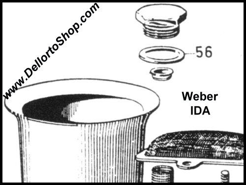 56  fiber seal for fuel filter cover on weber ida 2c