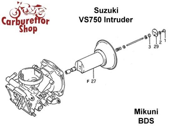 (F27) Throttle Slide for Mikuni carburetors for Suzuki VS750 Intruder -  Complete - Front