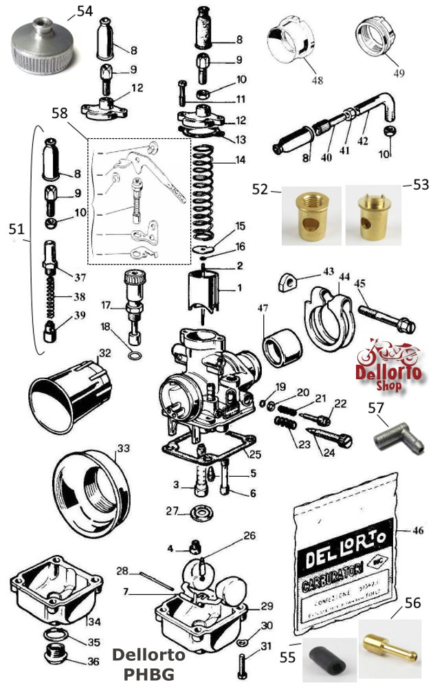AU-Type Atomiser Bush for Dellorto PHBG carburetors