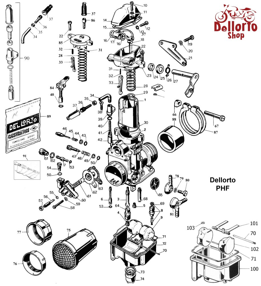 ... Dellorto PHF Exploded View Drawing ...