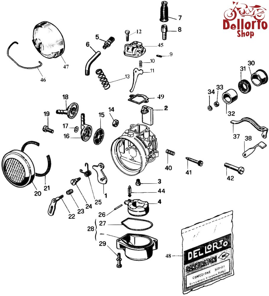 ... Dellorto SHA14, SHA15 and SHA16 Exploded View Drawing ...