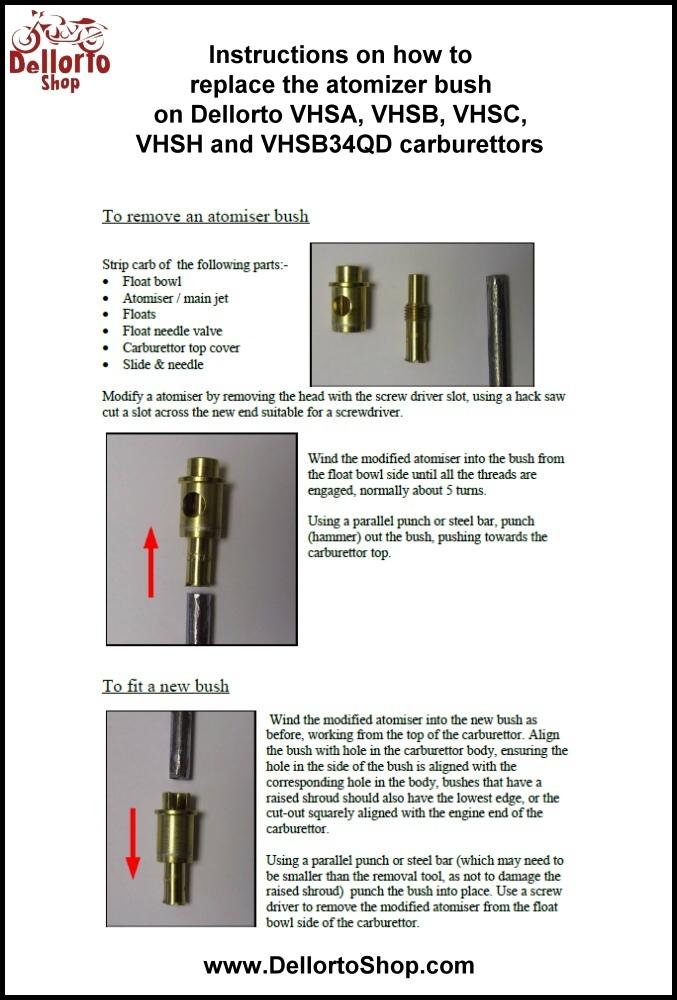 8mm needle jet atomiser bush for dellorto vhsh carburetors rh carburettorshop com Haynes Repair Manuals Online Haynes Repair Manual 1991 Honda Civic