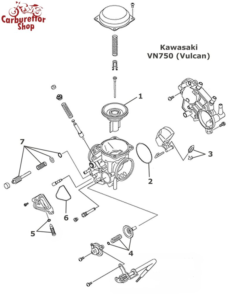 Kawasaki Vn750 Vulcan Carburetor Spare Parts And Service Kits