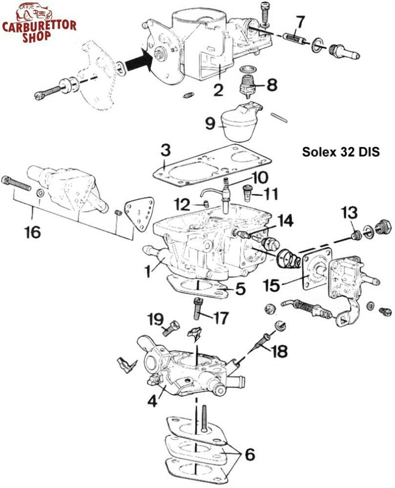 solex 32 dis carburetor service kits and spare parts rh dellortoshop com manual carburador solex 32 bis