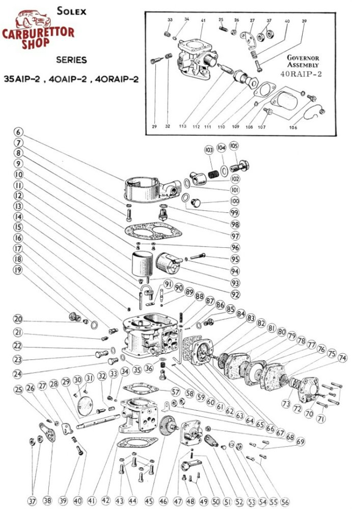 Solex Aip Carburetor Drawing Diagram Exploded View Ghost View on Mikuni Carburetor Diagram