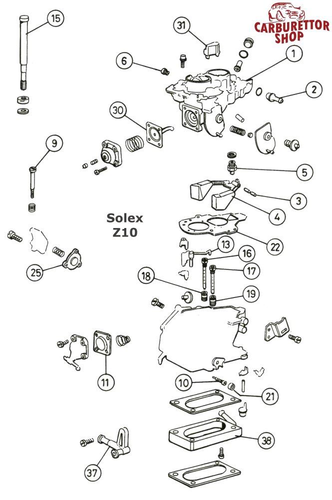 Solex Z10 Carburetor Parts