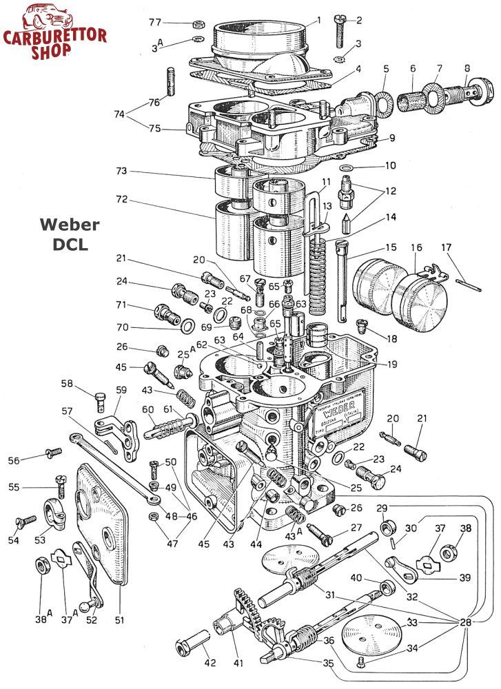 Weber Dcl Carburetor Parts