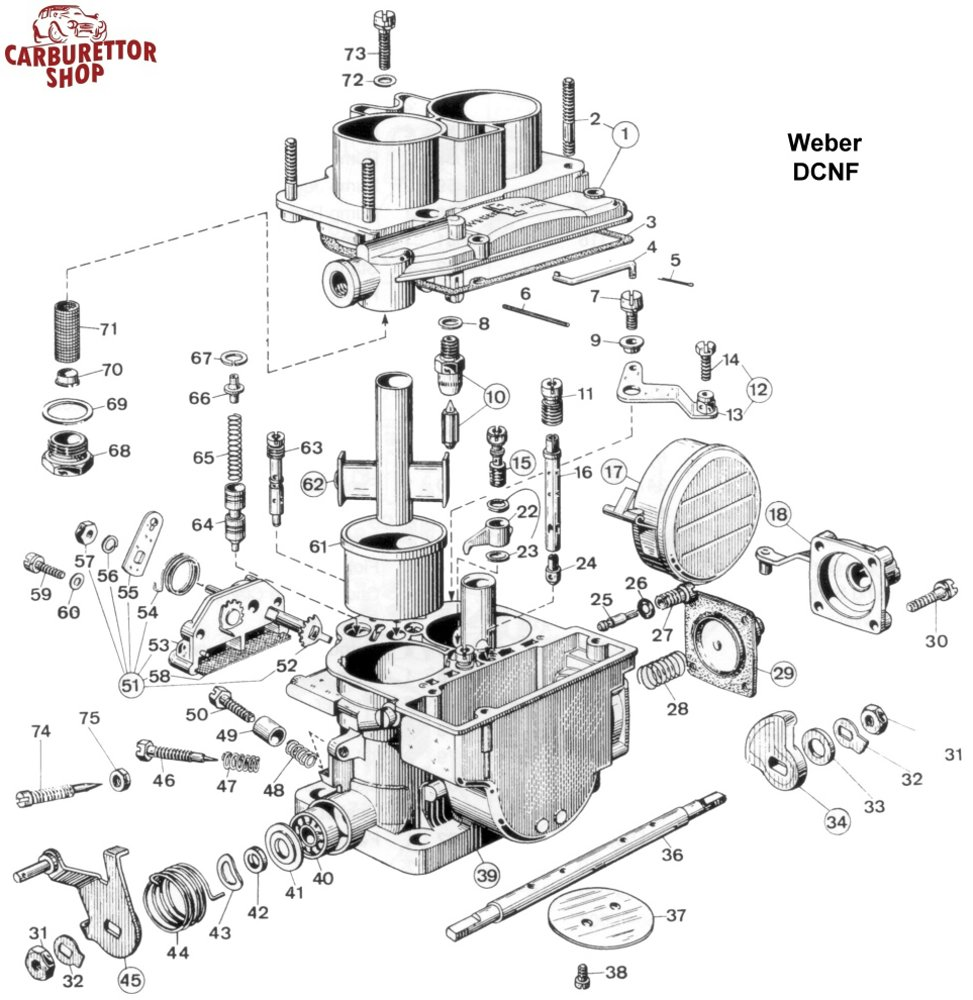 Click HERE for an exploded view drawing of the Weber DCNF.