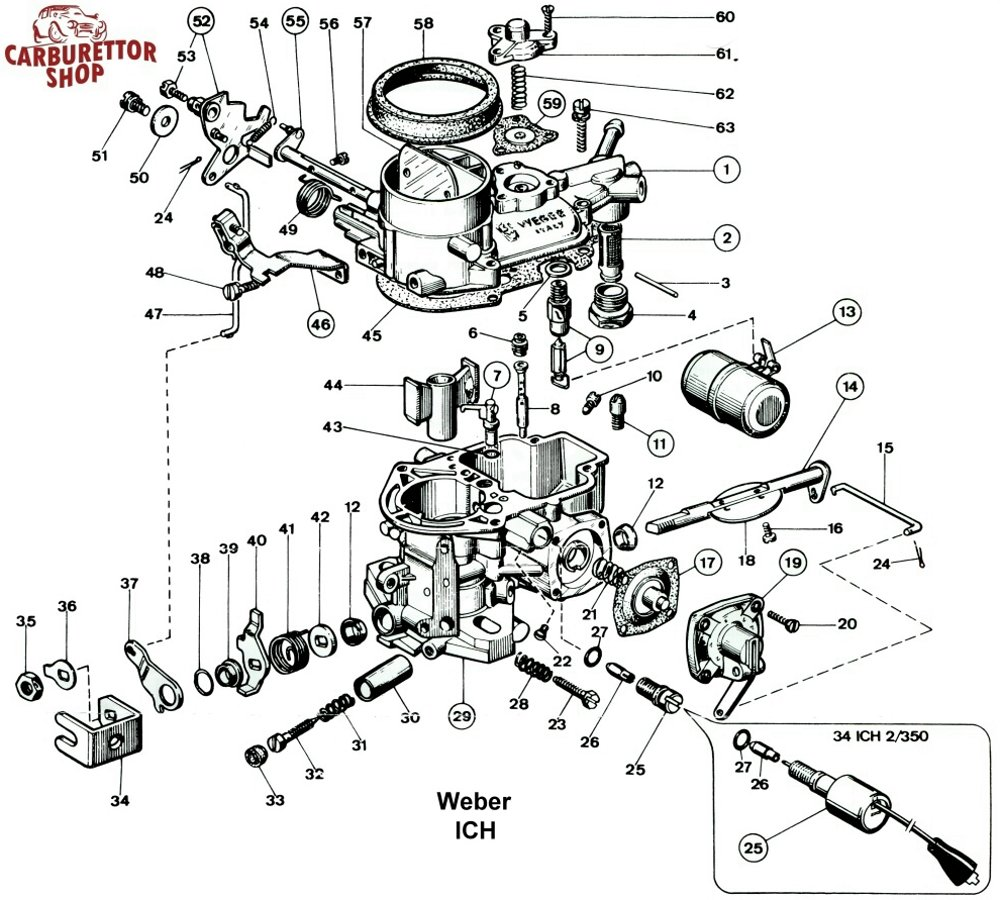 Weber Ich Carburetor Parts