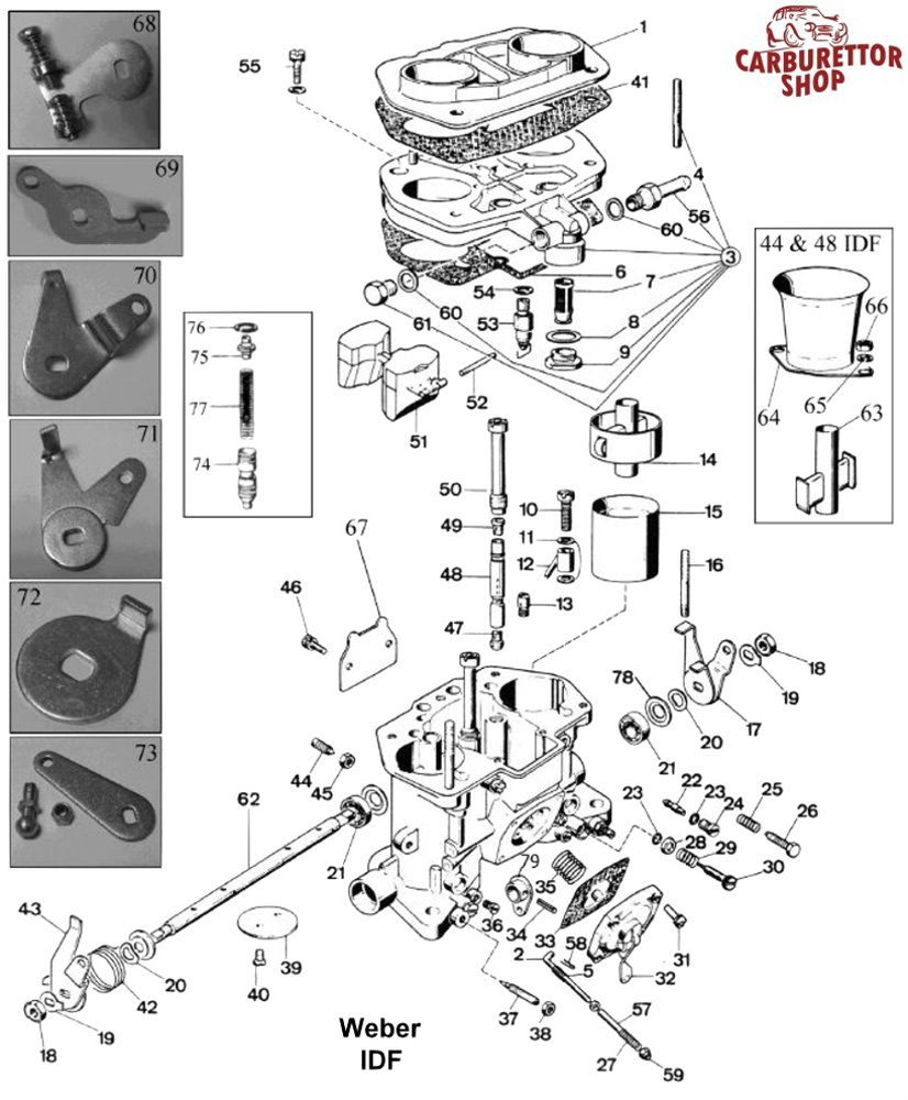 weber carb parts diagram